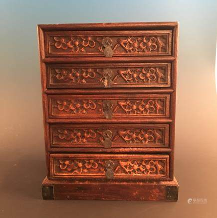 Chinese Hardwood Jewelry Box