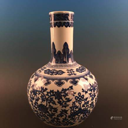 Chinese Blue-White 'Floral' Globular Vase, Qianlong Mark