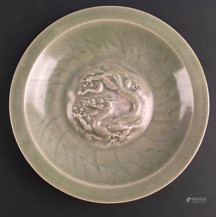 Chinese Celdon Glazed 'Dragon' Plate