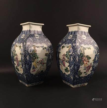 A Pair of Chinese Famille Rose Square Porcelain Vase