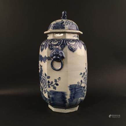 Chinese Blue-White Porcelain 'Flowers and Birds' Jar with Lid
