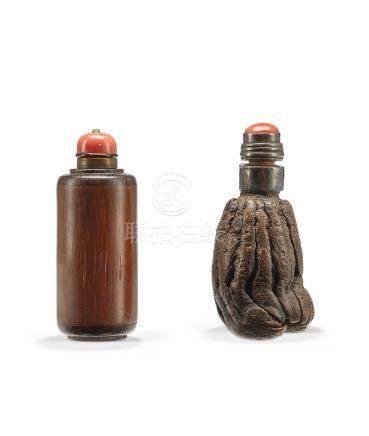 十九世紀 竹木鼻煙壺 二件一組