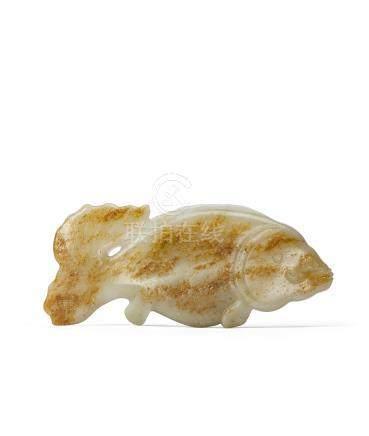 清 白玉留皮巧雕魚形珮