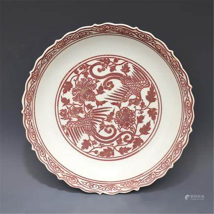 Glazed red Shuangfeng wear pattern Rough mouth plate