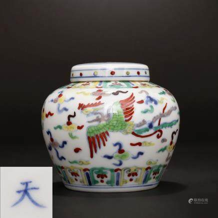 Ming Chenghua, blue and white, phoenix, double phoenix, wearing a cloud pattern Tianzi Can