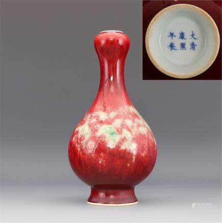 Qing Kangxi kiln change garlic bottle high 20.50CM caliber 4.20CM bottom diameter 6.00CM