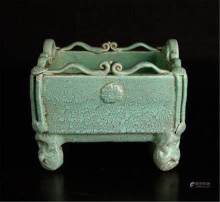 """Chinese Porcelain Censer"""" green mottled glaze"""