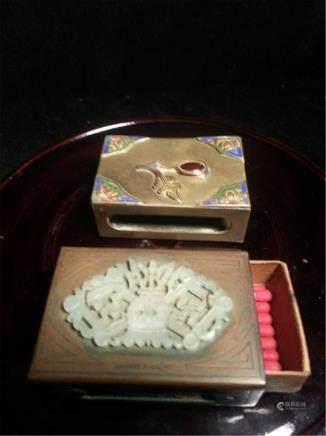 2 ANTIQUE CHINESE JADE MATCH BOX