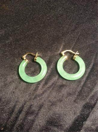 jade W 14k Gold Earrings