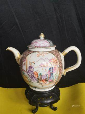 ANTIQUE ANTIQUE  FAMILLE ROSE PORCELAIN teapot