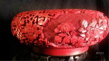 Chinese carved cinnabar lacquered