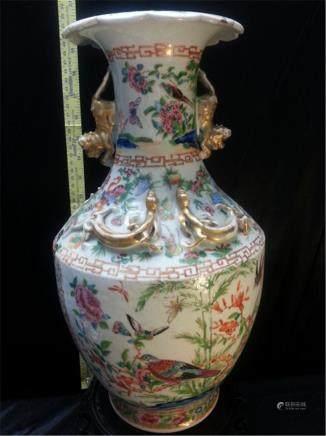 "Massive Late 19th Century Chinese Export Rose Medallion VASE  H 16""""DIA 8"""""