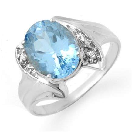 Genuine 2.51 ctw Blue Topaz & Diamond Ring 10K Gold