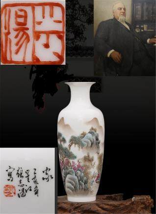 Republic of China Zhang Zhitang Hand painted pastel Jiangnan Xiu color bottle H 23.5CM
