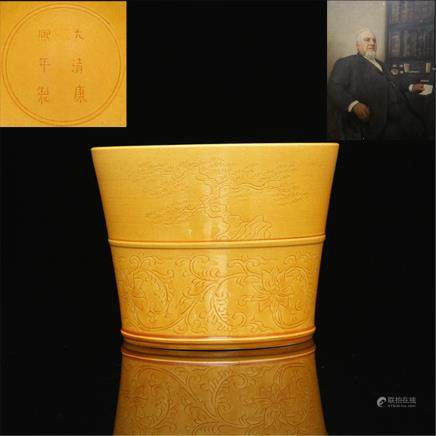 Daqing Kangxi Year System Golden Glaze Marking and Wearing Flowers Pine Bamboo Plum Pattern bo High 11.40CM Caliber 14.30CM Bottom diameter 11.00CM