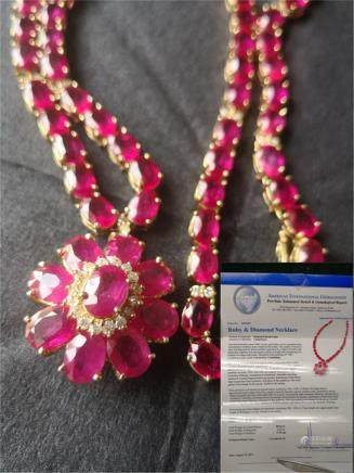Ruby diamond necklace and certificate
