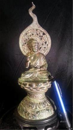 Copper Buddha statue .