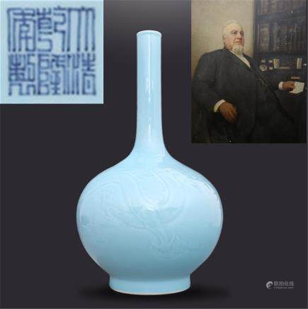 Daqing Qianlong Year System Powder Green Glaze Engraved Wrapped Dragon Wear Cloud Pattern Shawl Bile Bottle H41cm