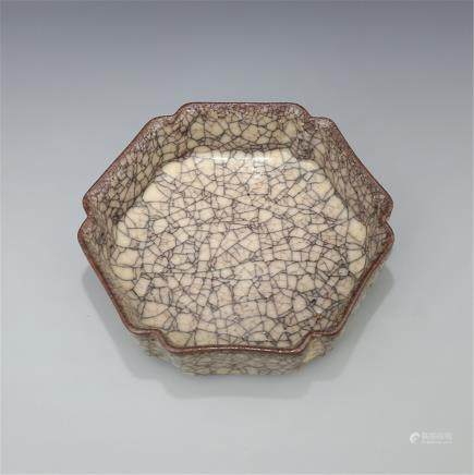 Song Ge Yao Jinsi Iron Wire Octagonal Pot Height 6.50CM Caliber 18.50CM Bottom diameter 17.00CM