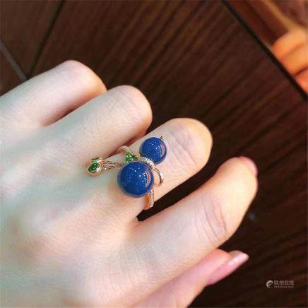 Dominican Blue Amber Ring 925 Silver Plated 18k Gold