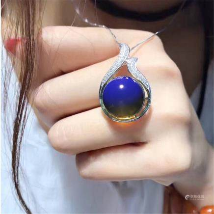 Dominican Blue Amber Pendant s925 Silver Necklace Blue Pole Pendant 15mm