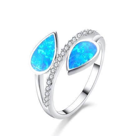 Blue op  Ring  Silver # 9
