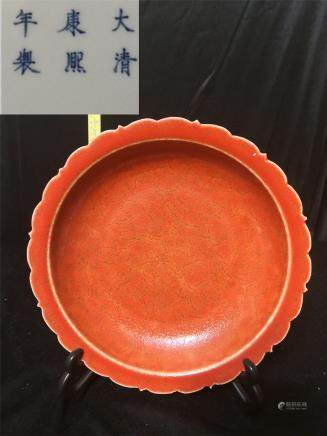 Qing Kangxi Chicken Blood Red Glaze Flower Port W 22cm