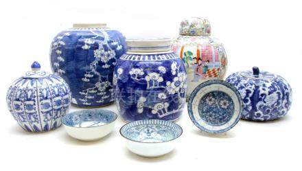 A quantity of modern Chinese and Asian ceramics,