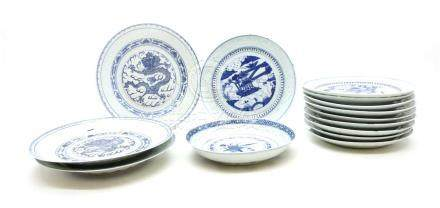 Chinese blue and white rice grain plates,