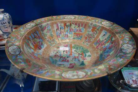 A LARGE CHINESE FAMILLE ROSE BOWL decorated with figures, 41cm dia (old repairs)