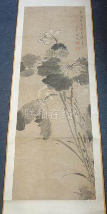 AFTER REN YI (1840-1896) White lotus and leaves, signed Bonian with two seals of the artist, hanging