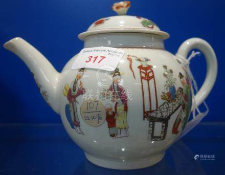 A CHINESE EXPORT PORCELAIN FAMILLE ROSE TEAPOT, QING DYNASTY, 18TH CENTURY, the sides painted with
