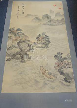 CHINESE SCHOOL (20TH CENTURY), WATERSCAPE OF DONGTIN LAKE, ink and colour on paper, hanging
