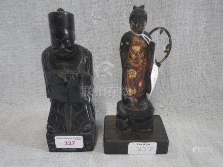 AN ORIENTAL CARVED WOOD AND PAINTED DEITY, 17cm high and a carved hardstone study of an elder, 19.