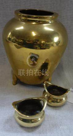 A CHINESE POLISHED BRONZE VASE, with stylised dragons and character marks to the base, 19cm high and