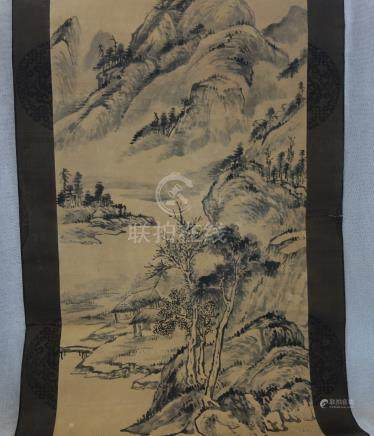 CHINESE SCHOOL, 20TH CENTURY, MOUNTAIN LANDSCAPE, ink on paper scroll, bears seal mark of Yang Bo