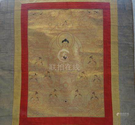 A THANKA WITH SHAKYAMUNI, TIBET, LATE 19TH/20TH CENTURY 25 cm wide, 36 cm high