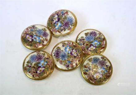 A set of six Japanese Satsuma earthenware buttons