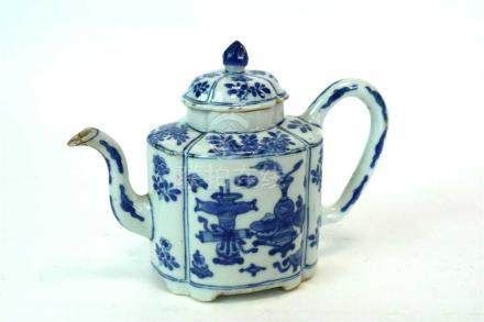 A Chinese blue and white teapot