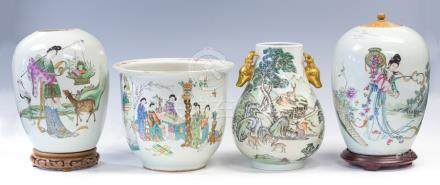 Four items of Chinese Republic period famille rose porcelain, to include a jardiniere decorated with