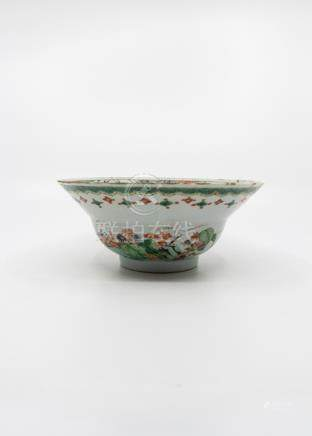 A famille verte bowl, Kangxi, the border with four car touches, two with crabs facing each other,