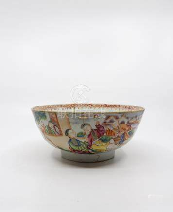 Four Chinese exportware punch bowls, Qianlong period, three painted in famille rose enamels, one