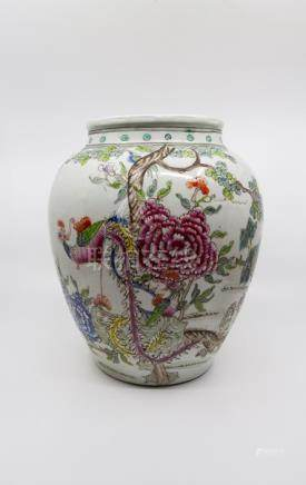 A 19th Century Famille Rose vase made for the export market, with naturalistic scenes of trees in