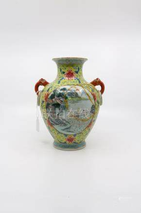 A Chinese vase, Qianlong mark, yellow ground, scene painted each side, one depicting gifts being