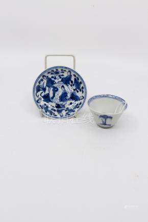 A Chinese blue and white porcelain saucer dish, Qing Dynasty, Kangxi (1662-1722), decorated with six