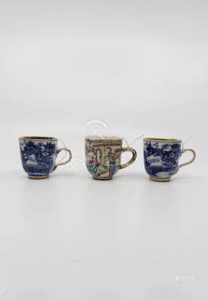 Three Chinese cups, Qianlong, two blue and white with overglaze gilding, the other with polychrome
