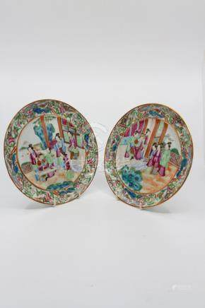 Four Cantonese famille rose plates and another darker enamelled plate [5]