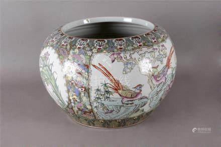 A 20th century Chinese cache pot in Famille Rose porcelain