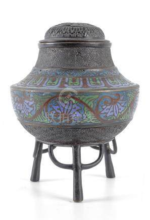 A 20th century Japanese incense burner from Showa period in bronze and cloisonné enamel