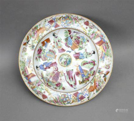 A 20th century Chinese plate in Canton Famille Rose porcelain from the Republic period